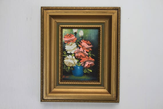 Vintage Still Life Painting - Vase of Rose Blossoms- Pink / Red / White - Signed Alter - Gilt Frame - Oil on Canvas