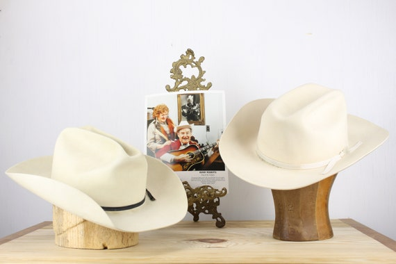 Vintage Set of Cowboy Hats belonging to Kenny Roberts King of Yodelers - Dynafelt F.M.G. Co - American Hat Co - Ivory - 7 1/8 - Mid Century