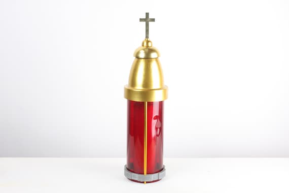 Vintage - Catholic Church Lantern - Mid Century - Jar Candle Chimney - Art Deco - Ruby Red Shield - Cross - Shrine - Altar - Christian