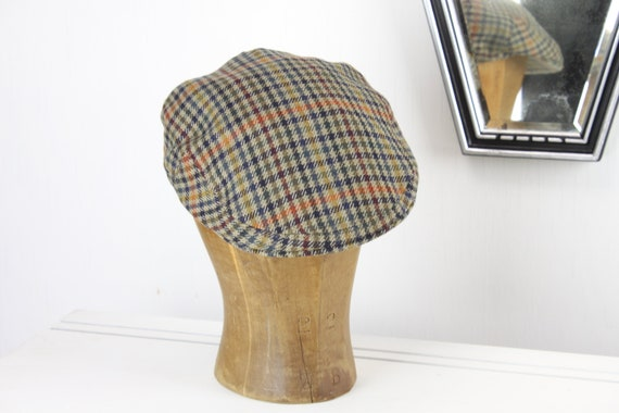 Vintage - Lock & Co Flat Hatters - England - Flat Sportsman's Cap - Glen Plaid - Cashmere Tweed - Wool - 7 1/8th - M - Tan - Fully Lined