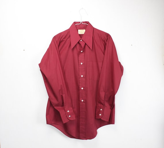 Vintage Men's Shirt - Arrow - Kent Collection - 1960's - Burgundy Red - Cotton/Poly Blend - M - 15.5 - 32 - Medium - Athletic Cut