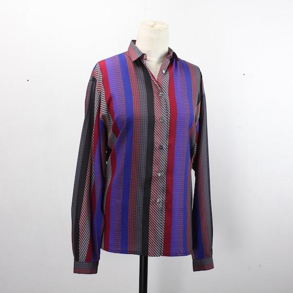 Vintage Women's Button Front Blouse - Jaeger - Black / Purple / Red/ Blue Stripe - XL 16 - 1980's - 100% Silk - 80's Does 40's - Mod
