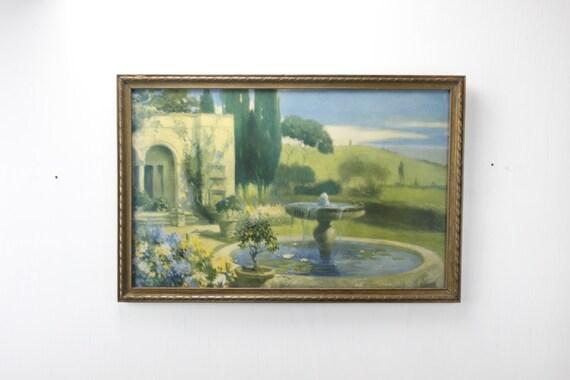 Vintage Print - Robert Atkinson Fox - The Enchanted Fountain - Gilt Frame - Art Deco - Garden - 1920's - 1930's