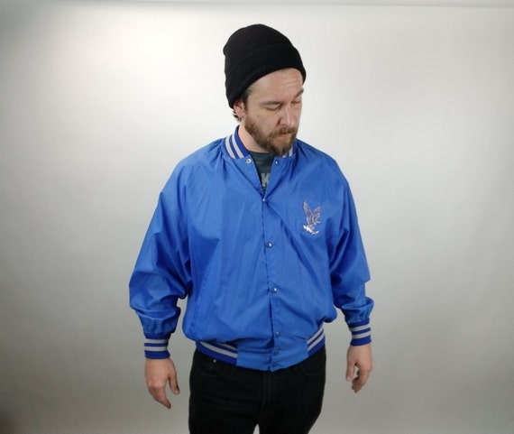 Vintage Men's Athletic Jacket - Blue - Eagle w/ Lighting bolts - 42 Reg - L - 1980's - Windbreaker - Spring Jacket - Men's Fashion