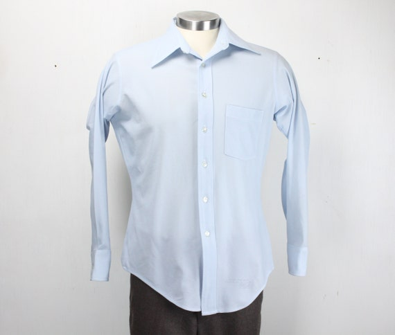 Vintage Men's Shirt - Arrow Knits - 1960's - Baby Blue - 100% Textured Poly - M - 15.5 - 33 - Medium