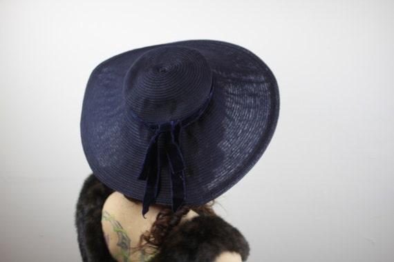 Vintage Women's Sun Bonnet - 1940's - Blue - Asymmetrical Brim - Vintage Women's Fashion - Women's Spring & Summer Fashion - Beach Wear