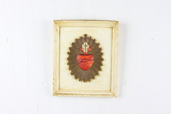 Vintage Chalkware Religious Plaque - Sacred Heart - 1940's - Wall hanging - Christian - Catholic - Santa Maria - Cross - Crown of Thorns