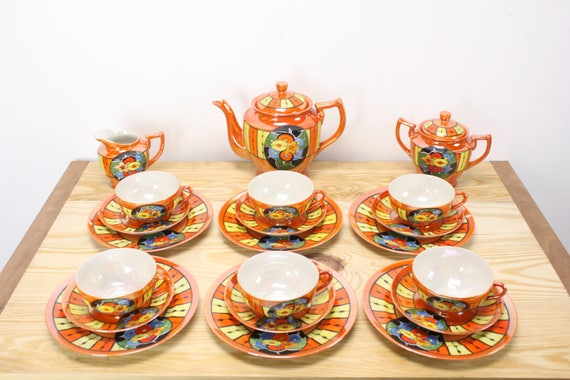 Vintage Lusterware Tea set - Fine Bone China - Tashiro Shoten - Nagoya - Made in Japan - 1920's - 1930's - Art Deco - 21 Pieces - Orange