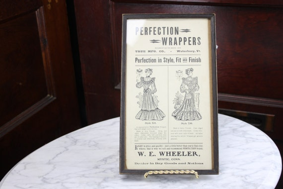 Victorian Advertising Print - Perfection Wrappers - True MFG. Co. - W.E. Wheeler - 1800's