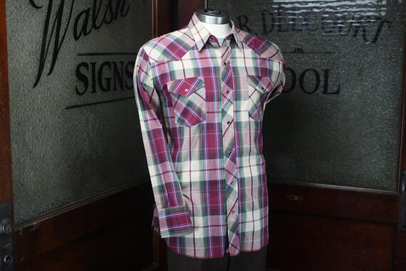 Vintage Men's Western Wear Shirt - American Hero - L - Purple Plaid - Vintage Men's Fashion - Men's Spring & Summer Fashion