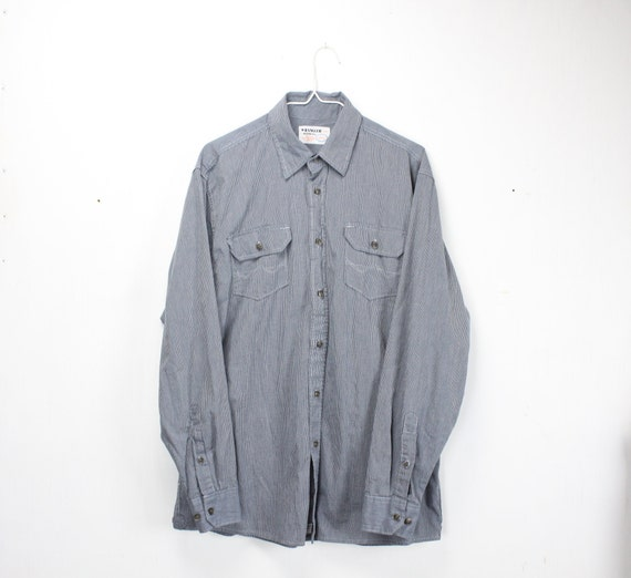 Vintage Men's Shirt - Wrangler - Work Wear - Straight Cut - Blue on Blue Hairline Striped - 1990's does 1930's - 16 -35 - Large