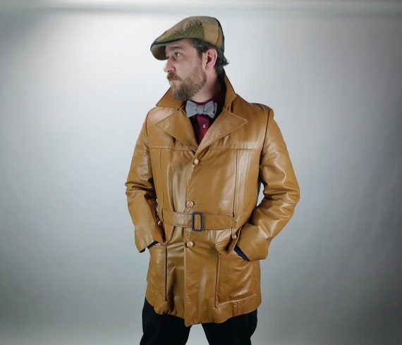 Vintage Men's Leather Jacket - 1970's - Tan - 40 R - Medium - Full Lining - Vintage Men's Fashion - Fall & Winter Men's Fashion