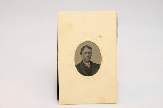Mid 19th Century Tintype in Original Embossed Paper holder, Portrait of a Young Gentleman, Victorian, American, 1860-1870