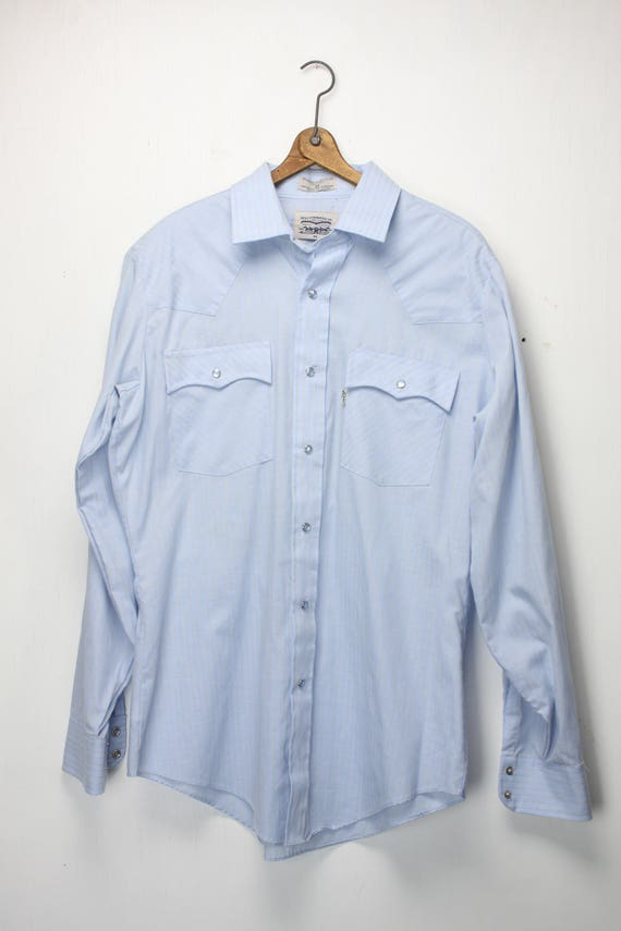 Vintage Men's Western Wear Shirt - Levi Strauss Co. - L - 16.5 -  1960's - Single Needle Tailoring - Blue and White Plaid -  Men's Fashion