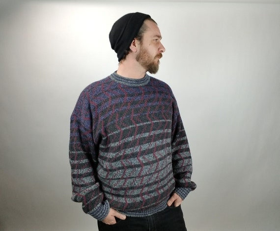 Vintage Men's Sweater - McGregor - XL - Gradient Stripes - Confetti Lines  - Gray / Black / Purple - 1980's - 1990's - Vintage Men's Fashion