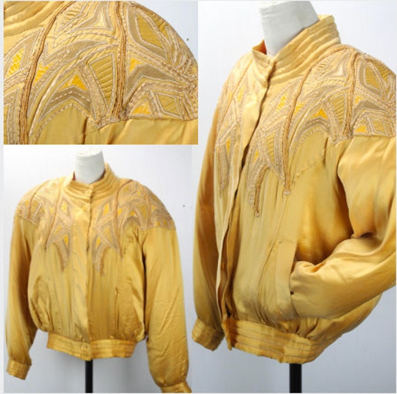 Vintage Women's Track Jacket - Silk - Gold - Leather & Snakeskin Patches - Cedars - Deadstock w/ Tags - 1980's - Boat Neck - Modern Size XXL