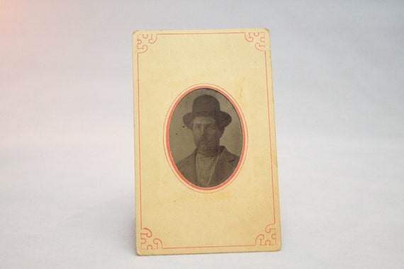 Victorian Tintype With Printed Paper Holder 1870-1890, Image of a Rugged Man