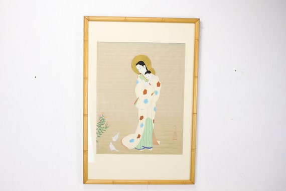 Vintage Painting - Madonna and Child - Ink & Colours on Silk - Faux Bamboo Frame - Early to Mid 20th Century - Signed - Japanese - Christian