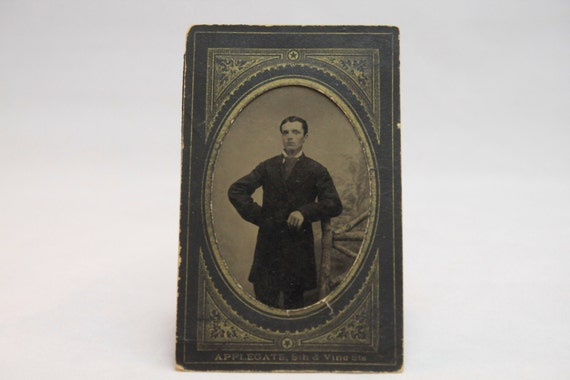 Victorian Tintype With Printed Gilt Paper Holder 1870-1890, Image of a Dapper Gentleman