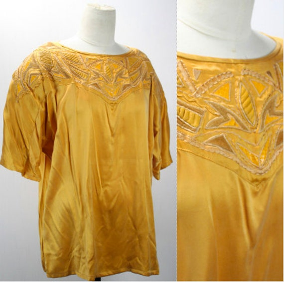 Vintage Women's Blouse - Silk - Gold - Leather & Snakeskin Patches - Cedars - 1980's - Boat Neck - Modern Size XXL