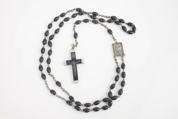 Vintage - Rosary - Aluminum Wrapped Ebony Resin Crucifix - Ebony Resin Beads - Silver plate Medallion - Madonna and Child - Sacred Heart