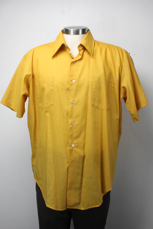 4b75f261a Vintage Men's Short Sleeve Shirt - Manhattan - Dark Yellow - XL - 17 ...