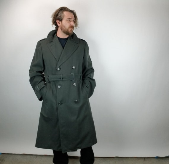 Vintage Men's Overcoat - Vietnam era - Trench Coat - Gabardine - Military - 3/4 Length - 40 L - Wool Lining - Fall & Winter Men's fashion
