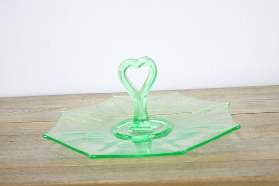 "Vintage - Faux Uranium Glass - 12"" Serving Dish - Sweetheart Handle - Vaseline Glass - Canary Glass -  Hors D'oeuvres Platter"
