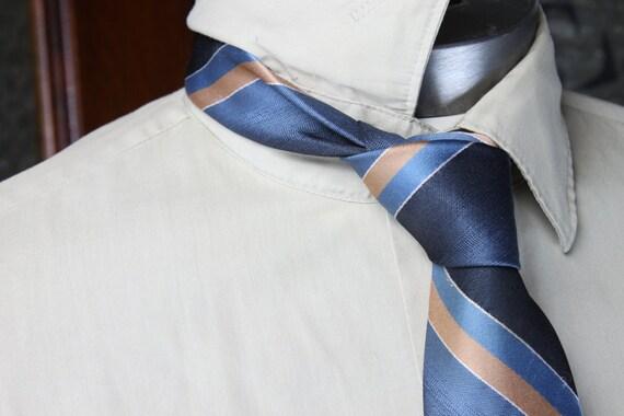 Vintage Men's Necktie - Sears - 1970's - Blue/Gold - Striped - Vintage Men's Accessories - Men's Fashion