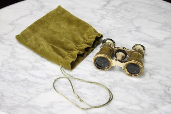 1800's - Lemaire FEBT - Opera Glasses - Paris - Victorian - Brass & Enamel - Floral Accents - Velvet Bag - Antique - Collectibles