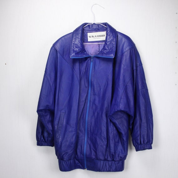 Vintage Women's Leather Jacket - Batwing - Oversized - Blue - 1980's - W. M. H. Harris - NYC - Urban - Hip Hop - SZ 14