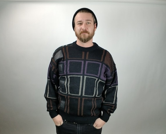 Vintage Men's Sweater - Exchange - L - Loose Knit - Geometric Pattern - Leather - 1980's - Vintage Men's Fashion - Men's Fall Fashion