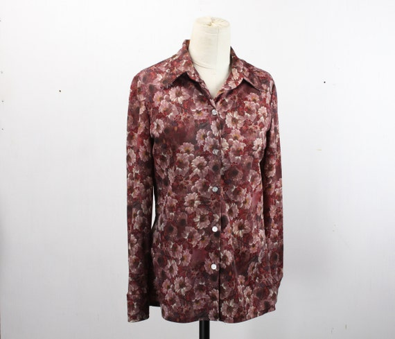 Vintage Women's Button Front Blouse - Burgundy - Pink - Floral Pattern - Vintage 12 - 1970's - Butterfly Collar