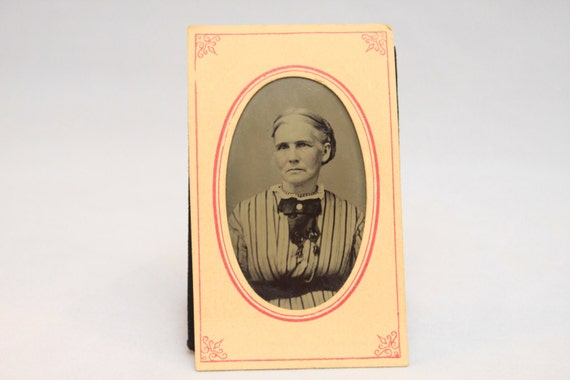Mid 19th Century Tintype in Original Printed Paper holder, Portrait of a Woman, Victorian, American, 1860-1870