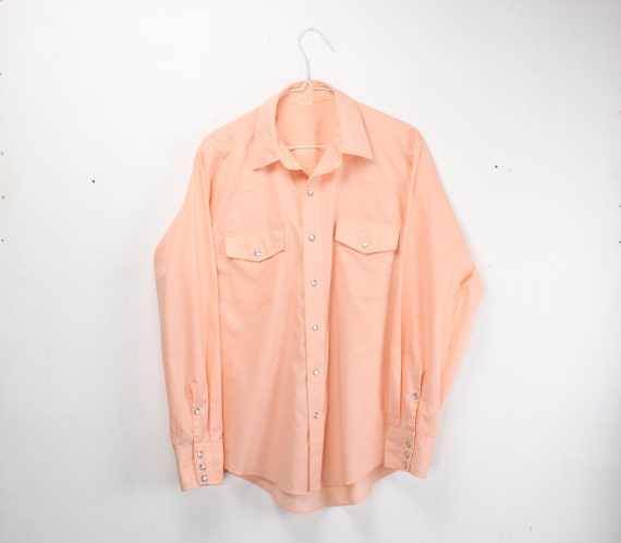 Vintage Men's Shirt - Western Wear - Pink - Salmon  - Cotton / Polly Blend - 1970's - 16.5- 35 - Large