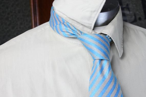 Vintage Men's Necktie - Linen w/ Heavy Core - Oragne/Blue - Striped - Vintage Men's Fashion Accessories
