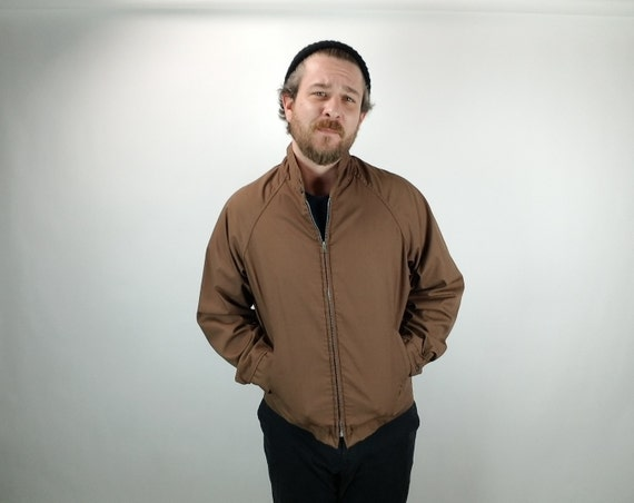 Vintage Men's Jacket - Ely & Walker - All Weather - Sports Wear - Brown - Large - 1940's - 1950's - Harrington - Mid Century