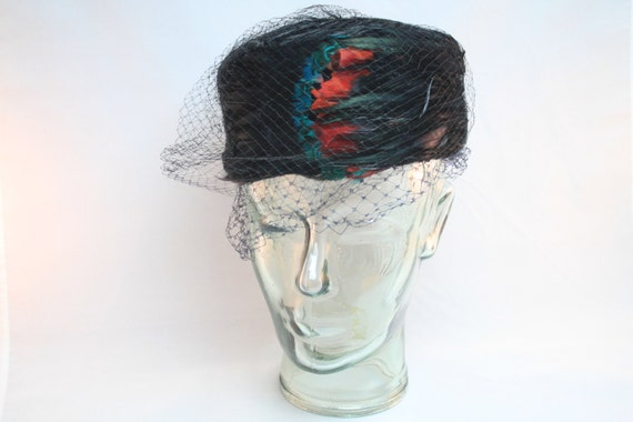 Vintage Black Feather Hat with Vail / Red & Blue Feather Accents - Vintage Women's Fashion