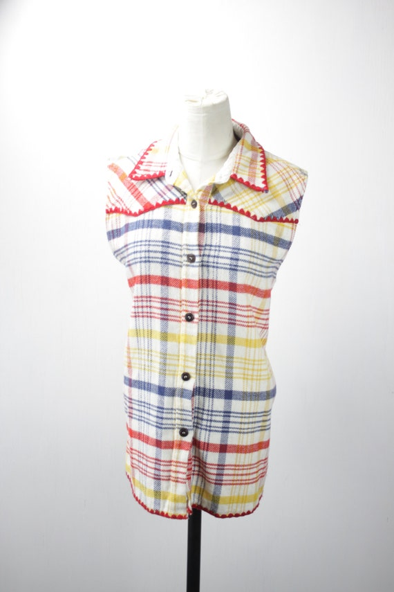 Vintage Sleeveless Flannel With Crocheted Trim - Blue Family Shirts - Italy - Red - Blue - Yellow - White - 44 - Polyester - 1990's