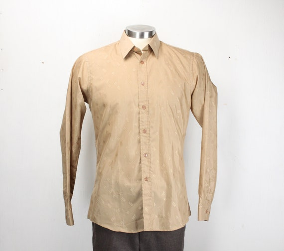Vintage Men's Shirt - Champs - De Baron - Tan - Embroidered Metallic Logo Pattern - Cotton Polyester Blend - M - 15 - 33 - 1980's