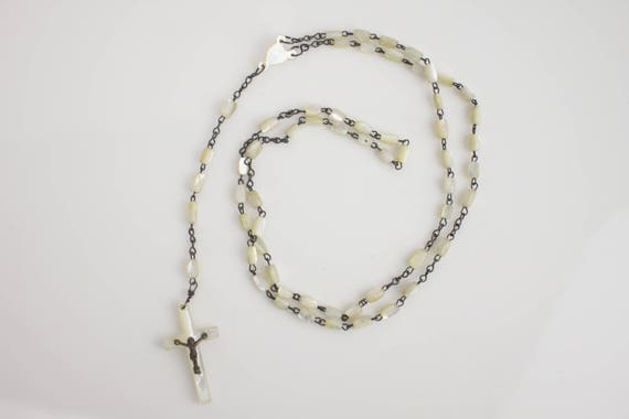 Antique - Rosary - Mother of Pearl - Silver Plate Chain & Corpus - Mother of Pearl Beads - Handmade