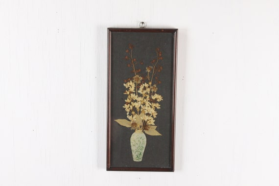 Vintage Pressed Wildflower Arrangement - Dried Flowers - Brown Lacquer Frame - Mixed media Vase on Black Field - Home Decor