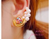 Love Cosmic Heart Moon Earring (Pierced Earrings or Ear Clips) Sailor Moon (Made to Order) Single Piece