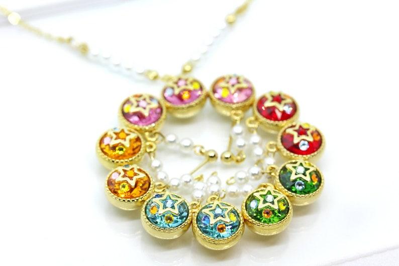Sailor Moon Earrings Medallion Pearl Swarovski Piercing Or Clip Mercury Mars Jupiter Venus Moon Pink Prism