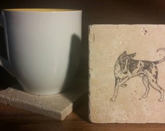 Set of 4 Ibizian Hound Travertine Stone Coasters