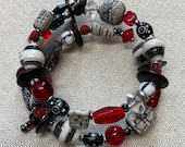 Red, Black, and White Beaded Memory Wire Wrap Bracelet
