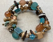 Turquoise, Rose, Amber, and Leopard Beaded Memory Wire Wrap Bracelet