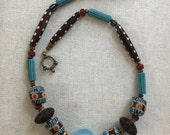 Santa Fe Style Jewelry Beaded Necklace Women's Handmade Wearable Art African Sandcast Glass Beads Lava Beads