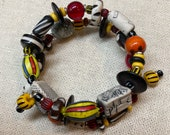 Beaded Memory Wire Wrap Bracelet: African Glass, Antique Trade Beads, Handmade and Carved Bone Beads