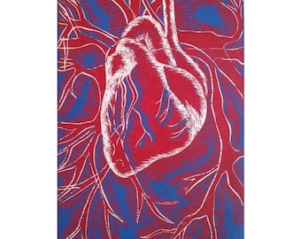 Linocut print, Anatomical heart, Art for sale, Lino cut, Red wall art, Original art, Unique gifts, Hand pulled print, Artist limited edition